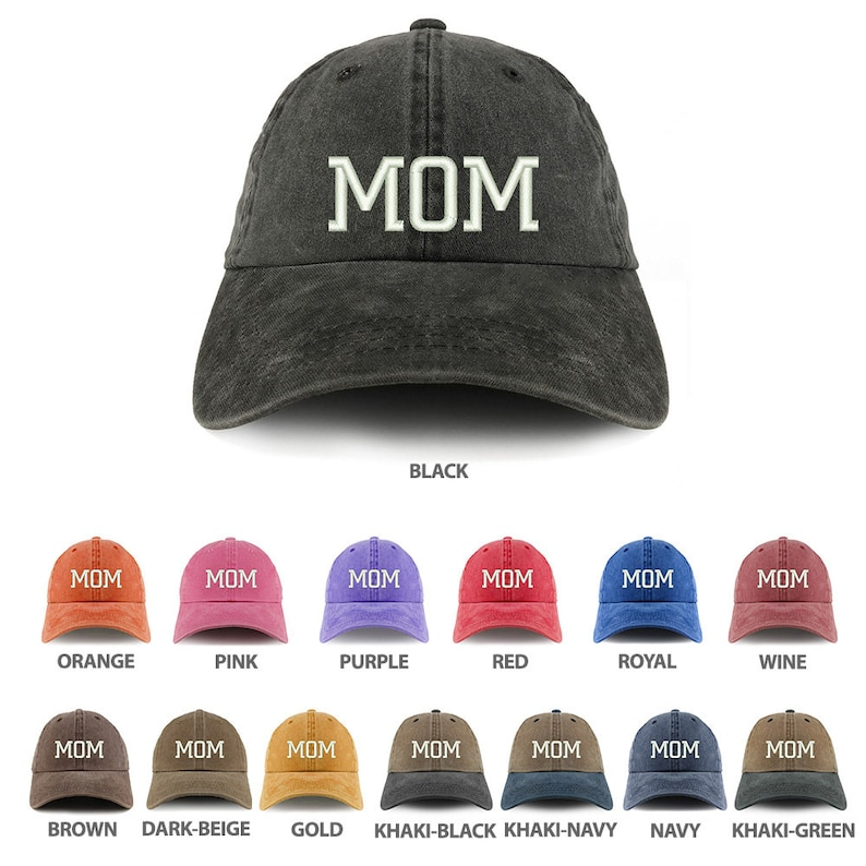 3a8f7e5240efcb Stitchfy Mom Embroidered Pigment Dyed Unstructured Cap | Etsy