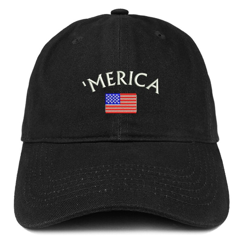 c2dce46b6efd44 Stitchfy Merica Small American Flag Embroidered Dad Hat Cotton | Etsy