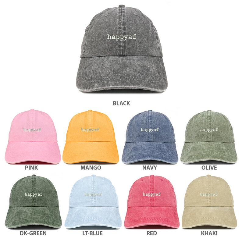 22d51ffe1437f5 Stitchfy Happyaf Embroidered Pigment Dyed Washed Cotton Cap | Etsy