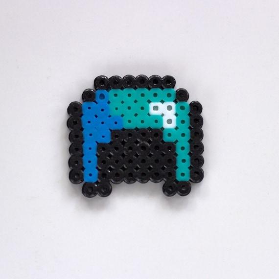 Minecraft Perler Beads Diamond Helmet Magnet Hama Beads Diamond Helmet Keychain Pixel Art Minecraft Diamond Helmet