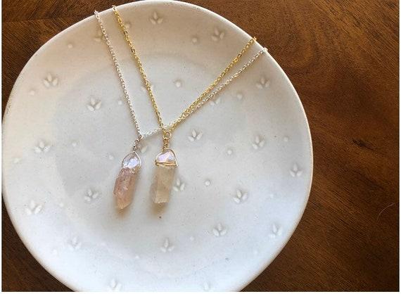Rose Quartz crystal necklace. Nickelfree