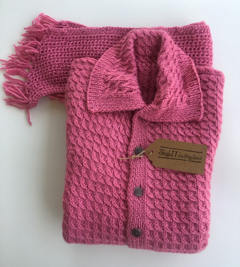 a861924d01 Pink Adult Unisex Adult 2-Piece Sweater-Set. Fandango Pink Collar Cardigan,  Muffler/Scarf. Yarn Knitted in USA. Chunky Winter Gifts.