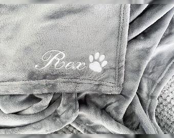 Personalised Pet Blanket Embroidered - Paw Print - Grey, Pink, Blue, Beige, Mustard