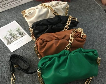 8 Colors High-End Chain Pouch Luxury Soft Leather Bag