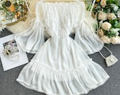 Fairy Chiffon Lace Dress with Trumpet Sleeves for Women, Matching Set Dresses