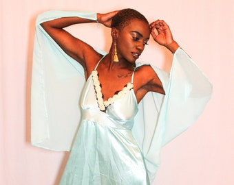 One of a Kind Baby Blue Angel Wings Satin Gown