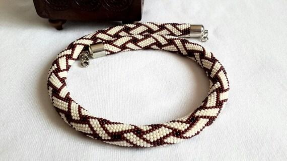 Perlen Häkeln Halskette Perlen Schmuck Geschenk Für Sie Etsy