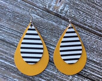 Faux Leather Tear Drop Earrings, Mustard Yellow Black and White Striped Earrings