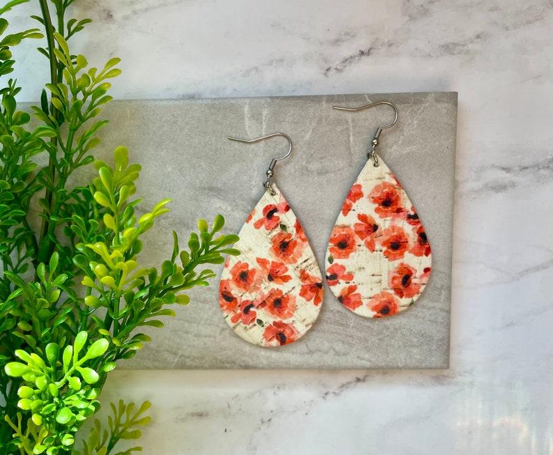 Poppy Cork Leather Earrings