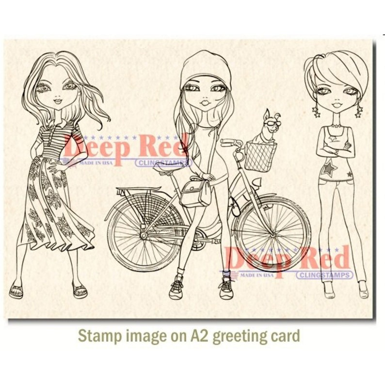 City Girls Weekend Fun Rubber Cling Stamp