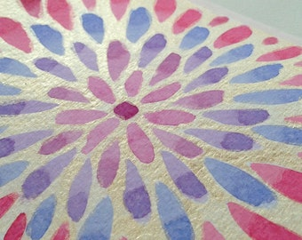 Hand painted water colour card, Burst of Color