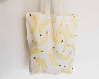 Banana Print Cotton Tote Bag - Eco Shopping Organic Zero Waste, Sustainable Plastic Free, Fruit Reuse Large Canvas Back to School Vegan Gift