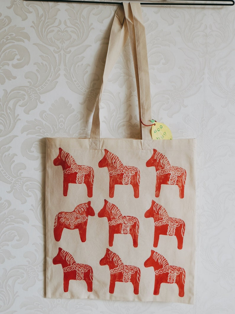 Market Vegan Gift Handprint Eco Shopping Organic Zero Waste Red Horse Ornament Cotton Tote Bag Sustainable Plastic Free Reusable Tote
