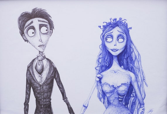 Tim Burton\u0027s Corpse Bride, Pen Biro Drawing, Signed Art Print