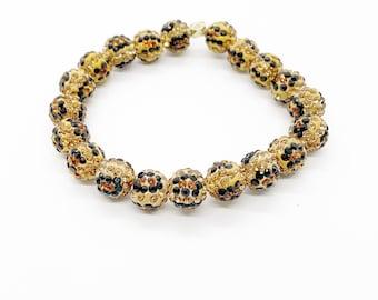 Leopard Rhinestone Stretch Bracelet