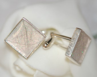 Square silver cufflinks with pet fur or cremation ashes - pet memorial - keepsake - cat - dog - resin - cremation jewellery - pet ashes-gift