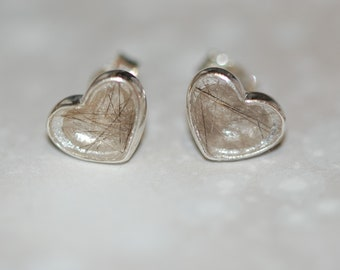 Silver heart stud earrings with pet fur or cremation ashes - pet memorial - Christmas - cat - dog - resin - cremation jewellery - pet ashes