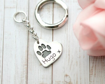 Actual Paw Print Keyring - Keychain - Custom Made - Pet Accessories - Pet Supplies - Christmas - birthday  - Silver - Pet Memorial - 1 paw
