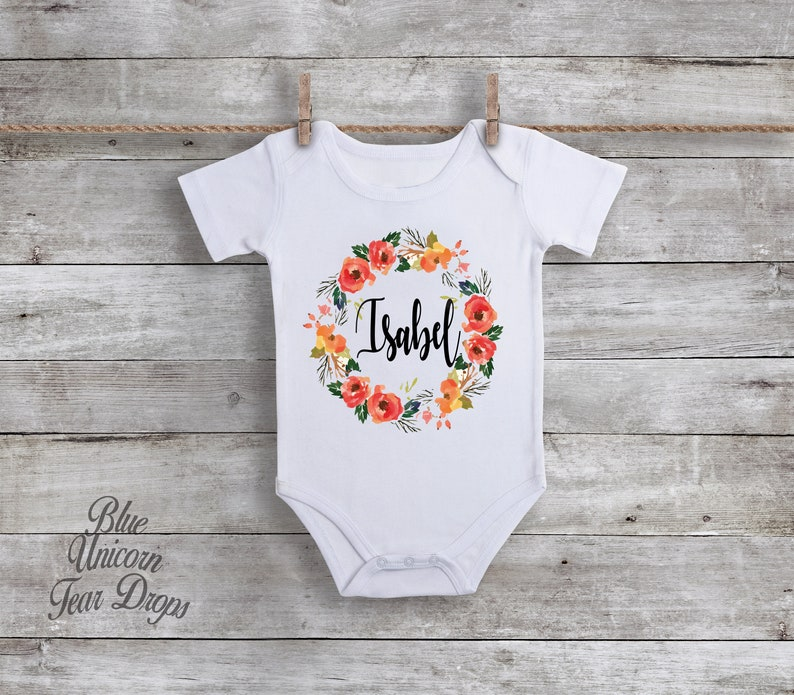 f28490bb3 Personalized Onesie® Flower Wreath Baby Name Personalized | Etsy