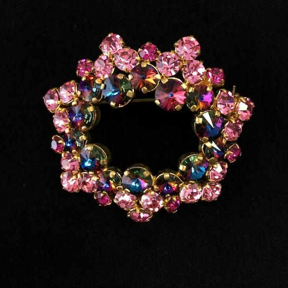 Pink rhinestone brooch, Vintage pink rhinestone br