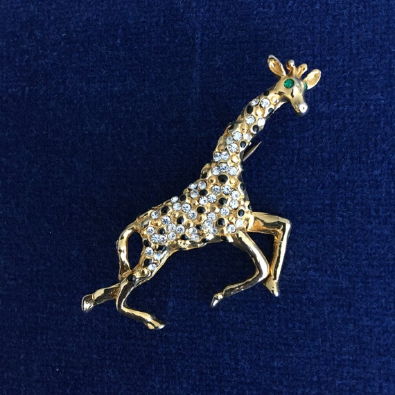 Vintage 1970/'s Silvertone Metal Giraffe Brooch Signed C /& M