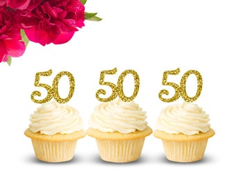 50th Birthday Cupcake Toppers 50 Topper Gold Glitter Anniversary Party