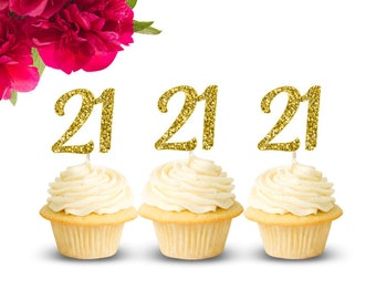 21 Cupcake Toppers 21st Birthday Decorations Happy Party Decor Twenty One Gold Glitter