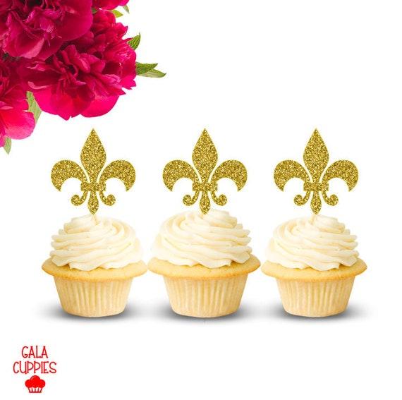 Fleur De Lis Cupcake Toppers Mardi Gras Cupcake Toppers Etsy