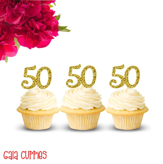 50th Birthday Cupcake Toppers 50 Topper