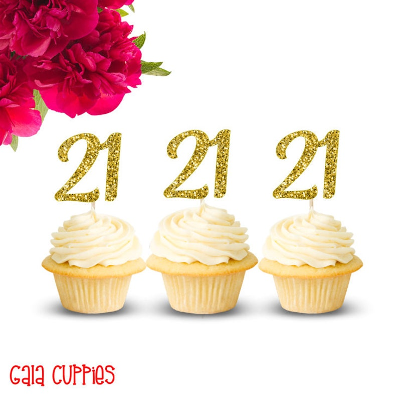 21 Cupcake Toppers 21st Birthday Decorations 21st Birthday Etsy
