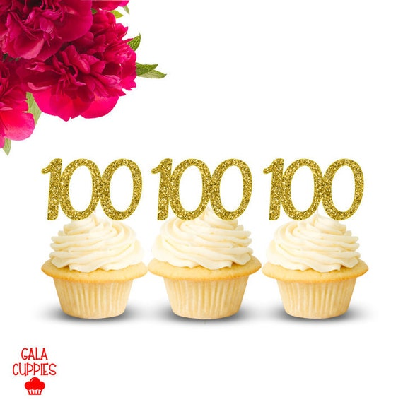 100th Birthday Cupcake Toppers 100 Happy