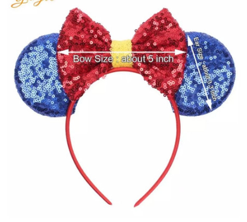 Rose Gold Minnie Mouse Ears Headband Sequins Hair  Accessories