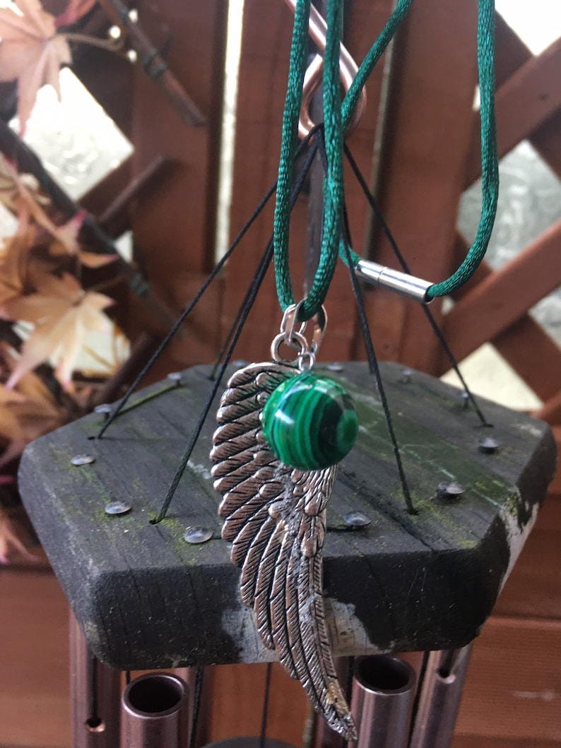 Malachite Crystal Dome with Silver Alloy Angel Wing Green Satin Ribbon Rope Necklace Handmade.