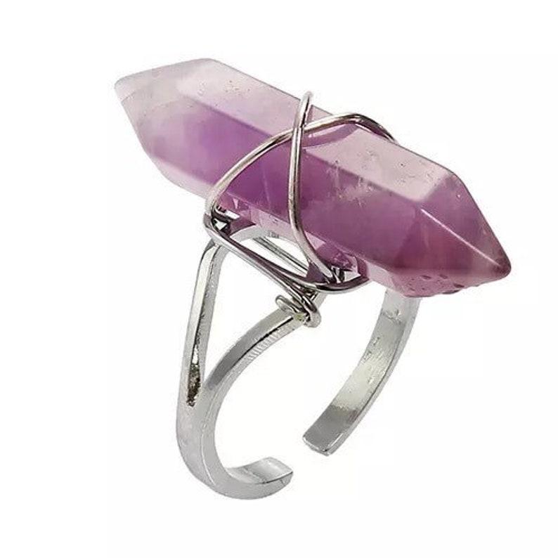 adjustable choices Amethyst Rose Quartz Clear Quartz Natural Crystal Ring