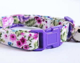 Fabric Cat Collar - Kitten Collar - Colorful Cat Collar with Flowers - Breakaway Buckle and Removable Bell-Black, Pink and Purple Cat Collar