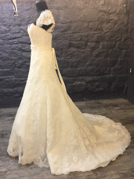 Cap A Beautiful Sleeve Dress Wedding Lace line 0pFFTnx