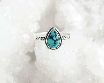 Turquoise dainty pear shaped ring, 925 sterling silver ring