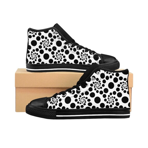 d2c3c62aad11c Polka Dots Black And White Swirl Designer Exclusive WomenS HighTop Sneakers  by Fierce Fabulous Style