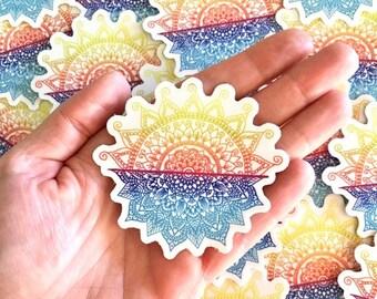 Sunset ocean mandala sticker