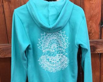 Turquoise wave mandala hoodie