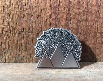 Mountain mandala enamel pin