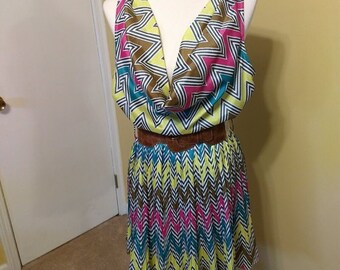 Fun & Flirty Chevron Print Dress