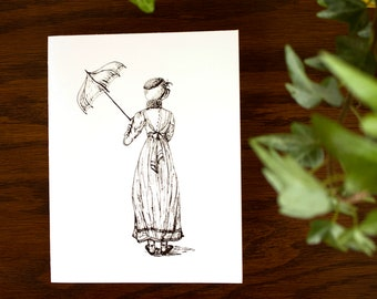 Girl with Umbrella Notecard | Blank Notecards | Instant download