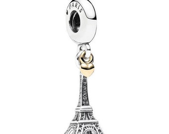 2c4a7a789 Paris Eiffel Tower & Gold Heart Charm 100% 925 Sterling Silver pandora