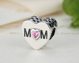 8c25459d0 Mother's heart with MOM inscription pink CZ the shape of a heart 100% 925  Sterling Silver fit for Authentic pandora and european bracelets