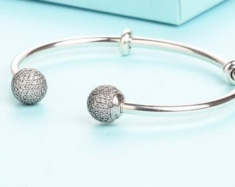 c6e604f14 Open Bangle Bracelet, 100% Sterling Silver with Cubic Zirconia Charm Fits  to all Pandora Charm Jewelry