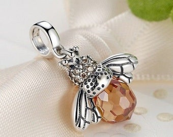 49b6a896c New 925 Sterling Silver Orange Wing Animal Bee Charm fit PANDORA Bracelet ,Pandora  Charm, First Anniversary Gift for Her Queen Bee Bead