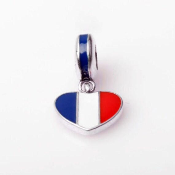 0caf654d0 France Heart Flag Charm 100% 925 Sterling Silver Pandora | Etsy