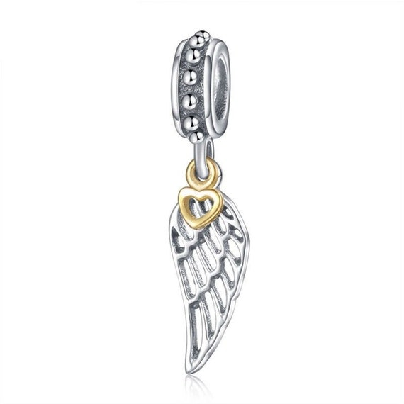 Angel Wing Charms Original 925 Sterling Silver Feather Pendant Charms for Snake Chain Bracelet