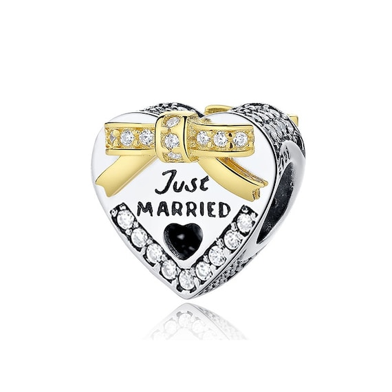 Silver&Gold Bound By Love Just Married Charm 100% 925 Steling Silver pandora